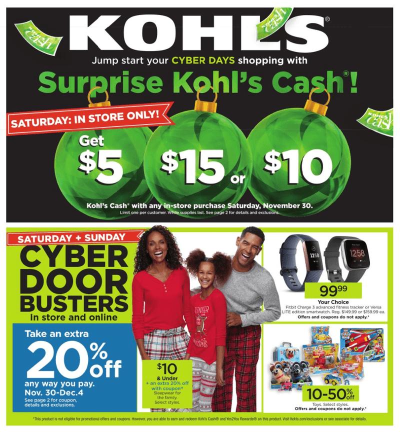 Kohl's Cyber Monday 2019 Page 1