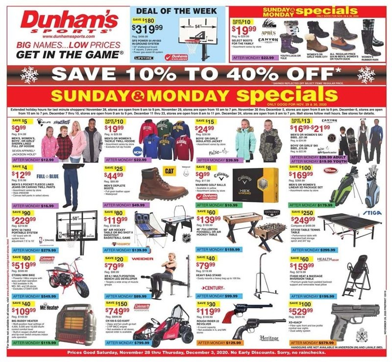 Dunham's Sports Cyber Monday 2020 Page 1