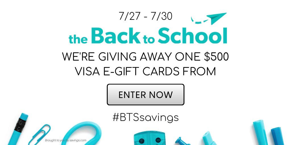 TheBacktoSchool.com is giving away a $500 Visa gift card!