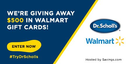 image about Dr Scholls Coupons Printable identify $10 Dr. Scholls Coupon and $500 Walmart reward card giveaway