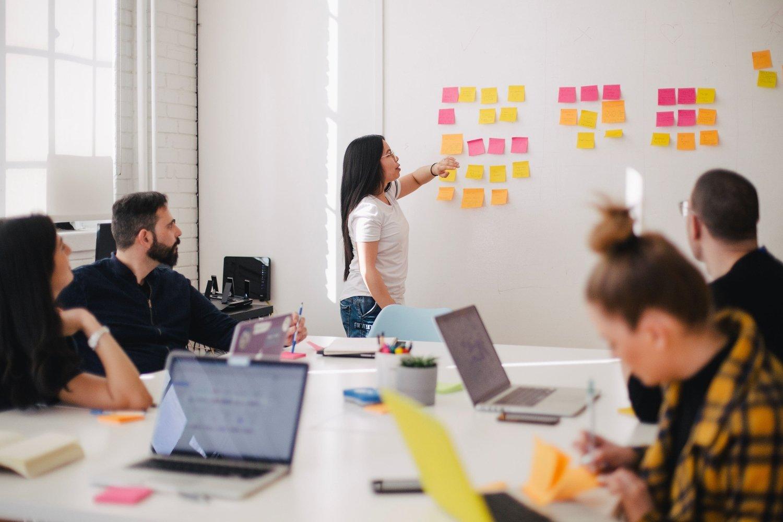 Team in Meeting Room plant den Black Friday mit Post its an einem Whiteboard
