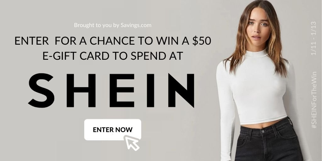 Win a $50 e-gift cards to spend at SHEIN!