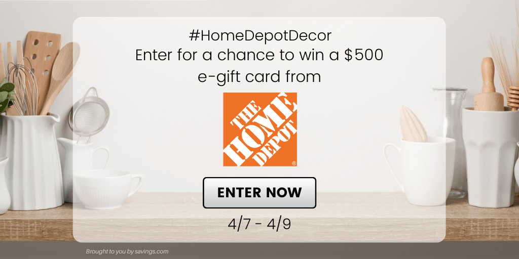 Win a $500 e-gift card from The Home Depot!